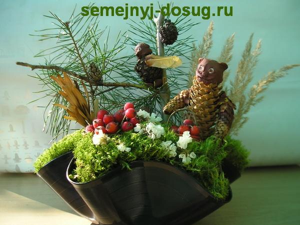 osennyaya kompoziciya iz prirodnyx materialov  Осенняя композиция из природных материалов