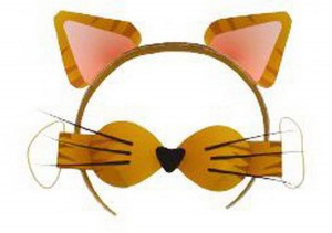 Уши и нос кошки из бумаги