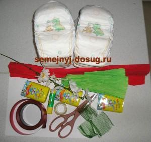 Необходимые материалы для изготовления торта из памперсов