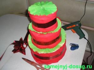 Украшение торта из памперсов-2